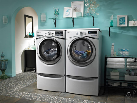 In-Home View with Matching Washer, Premium Pedestals and Worksurface (Sold Separately)