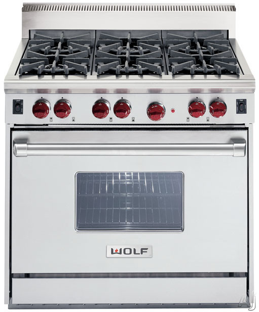 """Wolf GR366 36"""" Pro-Style Gas Range With 6 Dual-Stacked"""