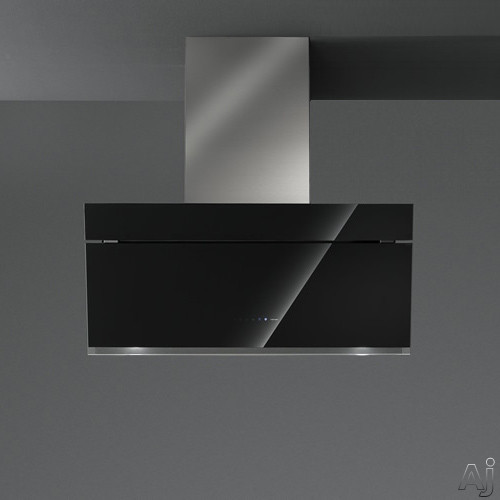 Futuro Futuro Gullwing Series WL36GULLWINGBLK 36 Inch Wall Mount Chimney Range Hood with Gullwing Motorized Glass Panel, 940 CFM Internal Blower, 4-Speed TouchFree Controls, 4 LED Lights and Convertible to Non-Ducted Operation: Black Glass WL36GULLWINGBL