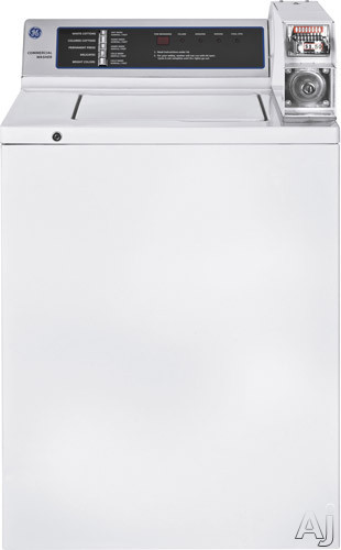 """click for Full Info on this GE WMCN2050FWC 27"""" Coin Operated Commercial Top Load Washer with 3.7 cu ft Capacity  5 Wash Cycles  3 Wash Temperatures  LED Readout and Dual Action Agitator"""