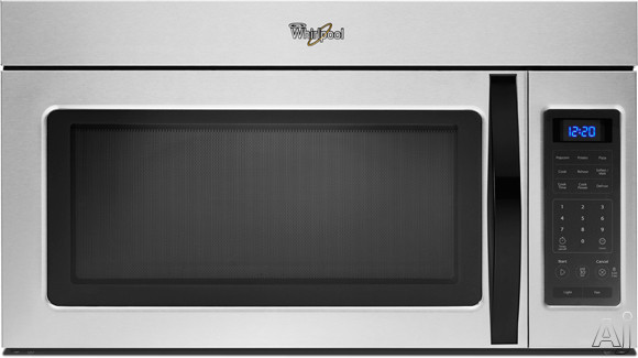 Whirlpool WMH31017AD Over-the-Range Microwave Oven with 1.7 cu. ft. Capacity, 1,000 Watts, 220 CFM Venting System, 2-Speed Fan, 2 Stage Cooking, Quick Touch Settings, Blue LED Display and Incandescent Cooktop Lighting: Universal Silver
