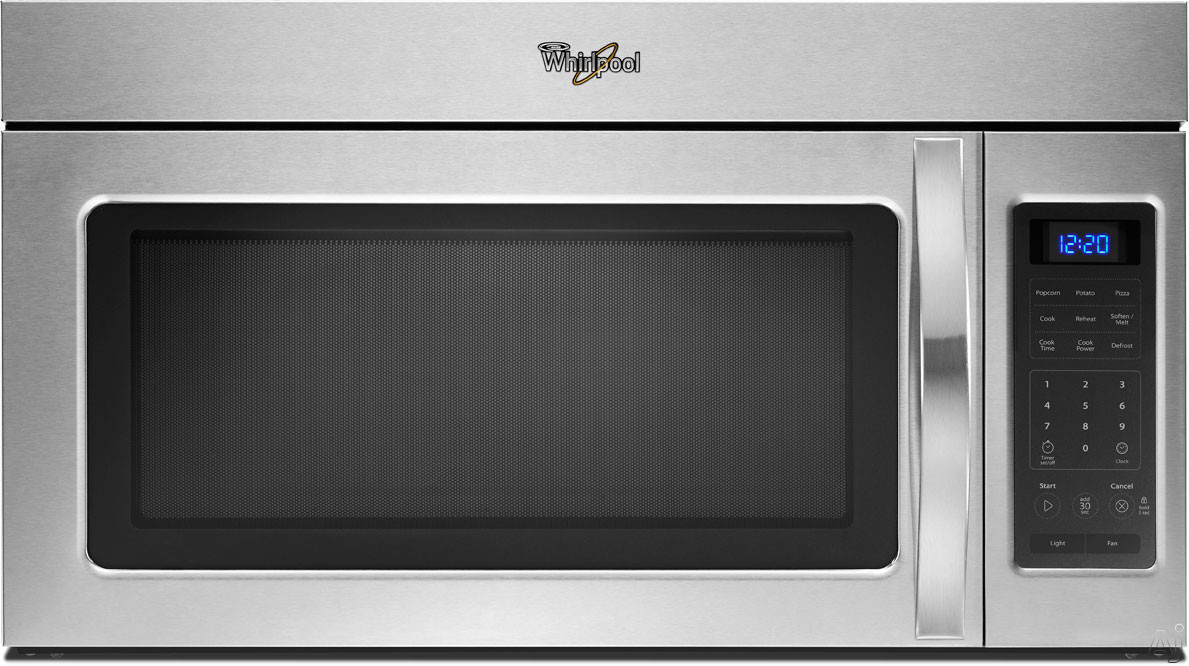 Whirlpool WMH31017A Over-the-Range Microwave Oven with 1.7 cu. ft. Capacity, 1,000 Watts, 220 CFM Venting System, 2-Speed Fan, 2 Stage Cooking, Quick Touch Settings, Blue LED Display and Incandescent Cooktop Lighting