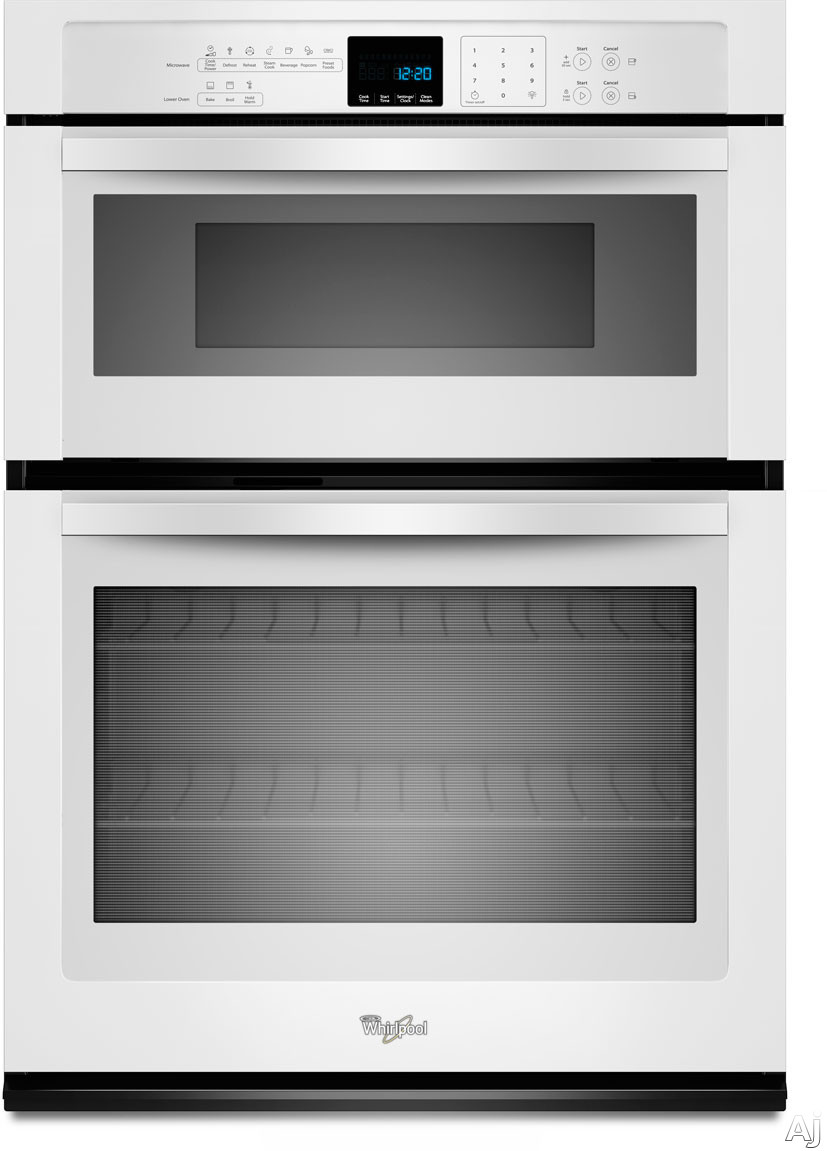 Whirlpool WOC54EC0AW 30 Inch Microwave Combination Wall Oven with Temperature Sensor, Steam, Self-Clean, 5.0 cu. ft. Self-Cleaning Oven 1.4 cu. ft. Microwave Capacity, Precision Cooking System, Hidden