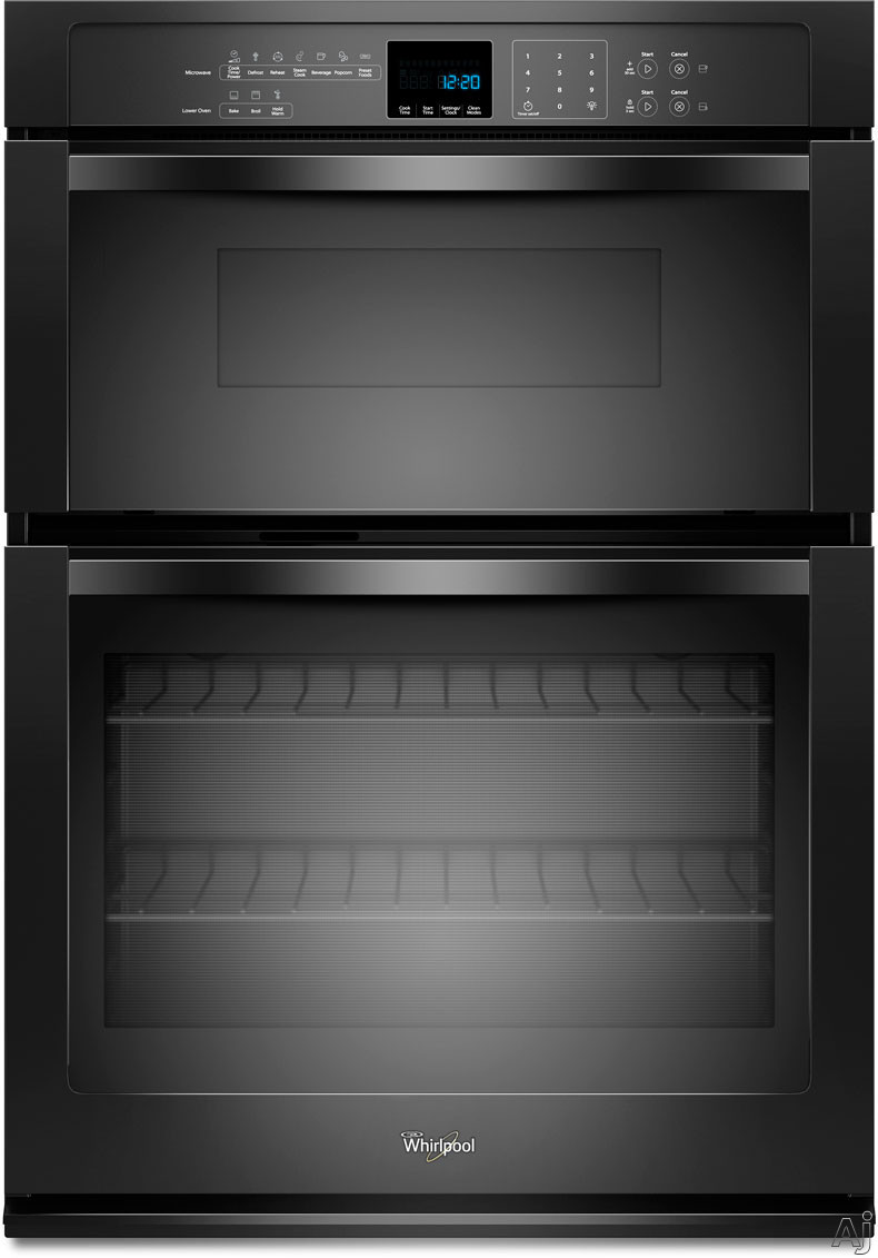 "Whirlpool WOC54EC7AB 27"" Microwave Combination Wall Oven with 4.3 cu. ft. Self-Cleaning Oven, 1.4 cu. ft. Microwave Capacity, SteamClean Option, Precision Cooking System and Hidden Bake Element: Black"