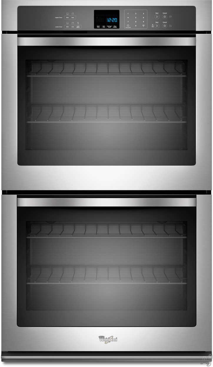 "Whirlpool WOD51EC0A 30"" Double Electric Wall Oven with 5.0 cu. ft. per Oven, Self-Cleaning, SteamClean Option, Precision Cooking System and Hidden Bake Element"