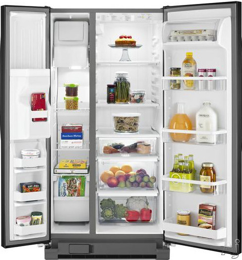 Whirlpool WRS322FDAW 22 cu. ft. Side by Side Refrigerator with 3 Slide-Out SpillGuard Glass Shelves, U.S. & Canada WRS322FDAW