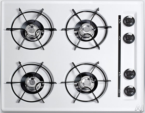"""Summit WTL03P 24"""" Gas Cooktop with 4 Open Burners, Porcelain Enameled Steel Grates, Recessed Top, U.S. & Canada WTL03P"""