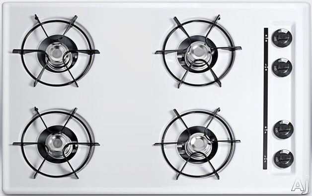 Summit WTL05P 30 Inch Gas Cooktop with 4 Open Burners, Porcelain Enameled Steel Grates, Recessed Top, Battery Start Ignition and LP Convertible: White