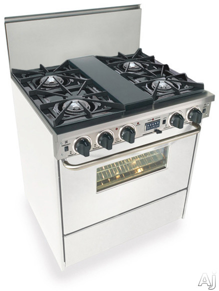 """FiveStar WTN275W 30"""" Pro-Style Dual-Fuel Natural Gas Range with 4 Open Burners, Vari-Flame Simmer on, U.S. & Canada WTN275W"""