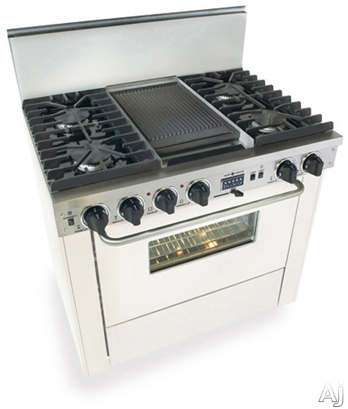 """FiveStar WTN3377W 36"""" Pro-Style Dual-Fuel Natural Gas Range with 4 Sealed Ultra High-Low Burners, U.S. & Canada WTN3377W"""