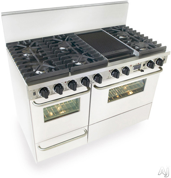 """FiveStar WTN5377W 48"""" Pro-Style Dual-Fuel Natural Gas Range with 6 Sealed Ultra High-Low Burners, U.S. & Canada WTN5377W"""