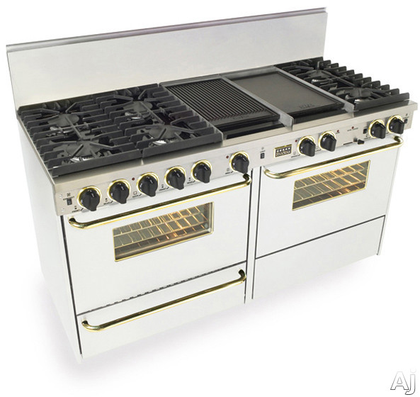 FiveStar WTN6377SW 60 Inch Pro-Style Dual-Fuel Natural Gas Range with 6 Sealed Ultra High-Low Burners, Two 3.69 cu. ft. Convection Oven, Self-Clean and Double Sided Griddle/Grill: White with Brass Pac
