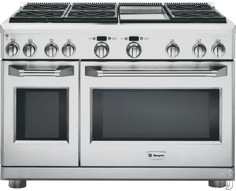 Picture of Monogram ZGP486LDRSS 48 Inch Pro-Style All-Gas Range with 6 Sealed Dual-Flame Stacked Burners Griddle 62 cu ft Caterer Oven Reverse Air Convection Infrared Broil Burner and 27 cu ft Everyday Oven Liquid Propane