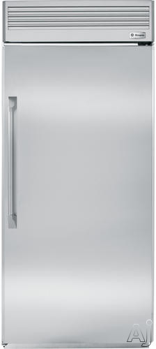 Image of Monogram ZIRP360NHRH 36 Inch Built-In Full Refrigerator with Adjustable Spill Proof Glass Shelves, Gallon Storage Door Shelves , Wine Caddy, Adjustable Humidity Produce Pans and Snack Drawers: Professional Stainless Steel/Hinges on Right
