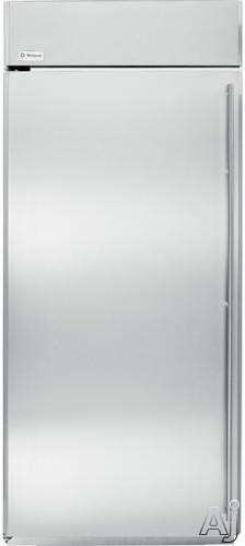 Image of Monogram ZIRS360NHLH 36 Inch Built-In Full Refrigerator with Adjustable Spill Proof Glass Shelves, Gallon Storage Door Shelves , Wine Caddy, Adjustable Humidity Produce Pans and Snack Drawers: Stainless Steel/Hinges on Left