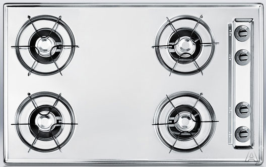 Summit TL05P 30 Inch Gas Cooktop with 4 Open Burners, Porcelain Enameled Steel Grates, Recessed Top, Battery Start Ignition and LP Convertible