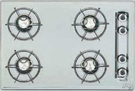 """Summit ZTL053 30"""" Gas Cooktop with 4 Open Burners and Electronic Ignition: Brushed Chrome, U.S. & Canada ZTL053"""