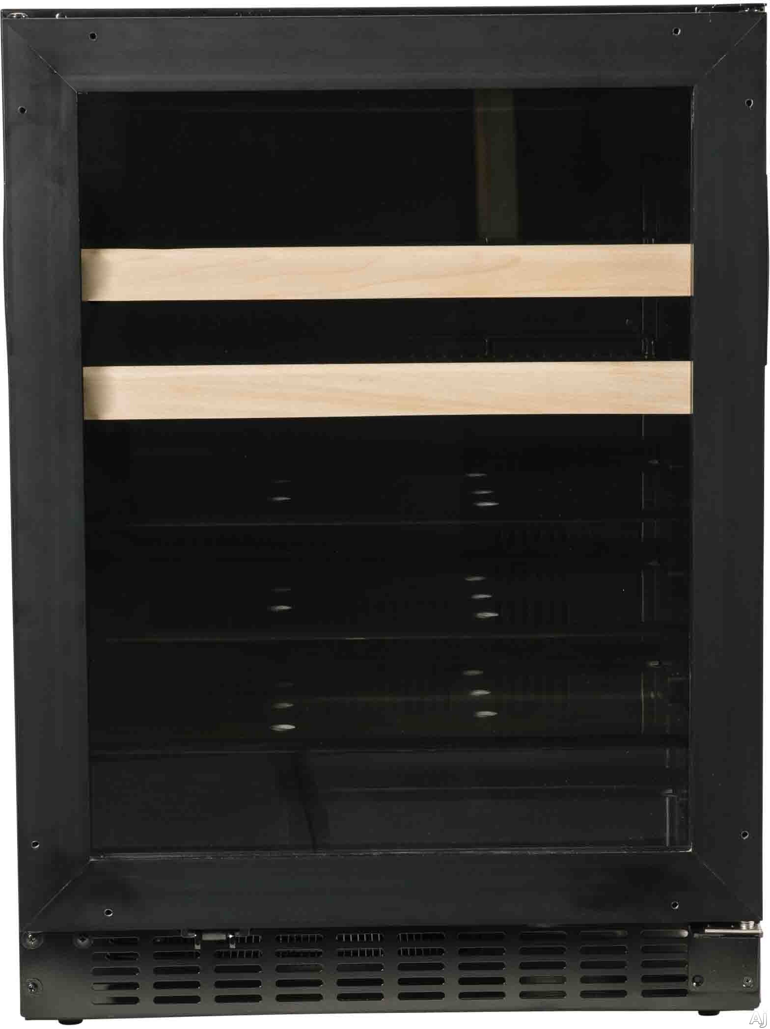 Azure A124BEVO 24 Inch Beverage Center with Blue LED Lighting, Glass Shelving, Wine Racks, Field Reversible Door, Digital Display Controls, Auto Defrost, A.D.A. Compliant and 3 cu. ft. Capacity: Panel Ready-Glass