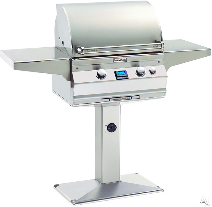 Fire Magic Aurora Collection A430S5E1NP6 24 Inch Freestanding Gas Grill with 432 sq. in. Cooking Surface, 50,000 BTU, 13,000 BTU Backburner, Interior Halogen Lights and Hot Surface Ignition: Natural G