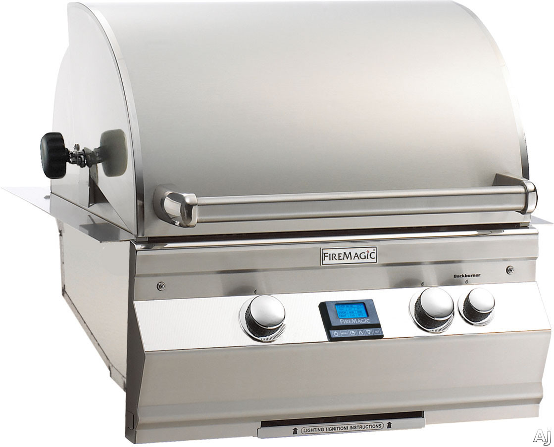 Fire Magic Aurora Collection A530I5A1N 24 Inch Built-in Gas Grill with 528 sq. in. Cooking Surface, Warming Rack, Meat Probe, Interior Halogen Lights and Hot Surface Ignition: Natural Gas, All Infrare