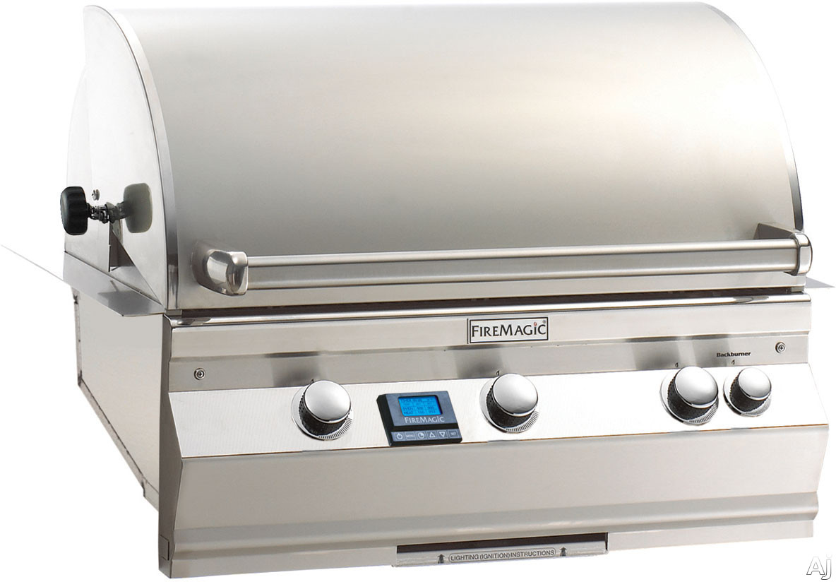 Fire Magic Aurora Collection A540I6E1N 30 Inch Built-in Gas Grill with 540 sq. in. Cooking Surface, 60,000 BTU Primary Burners, Optional 17,000 BTU Rotisserie Backburner, Stainless Steel Throughout and Interior Halogen Lights: Natural Gas, With Rotisseri
