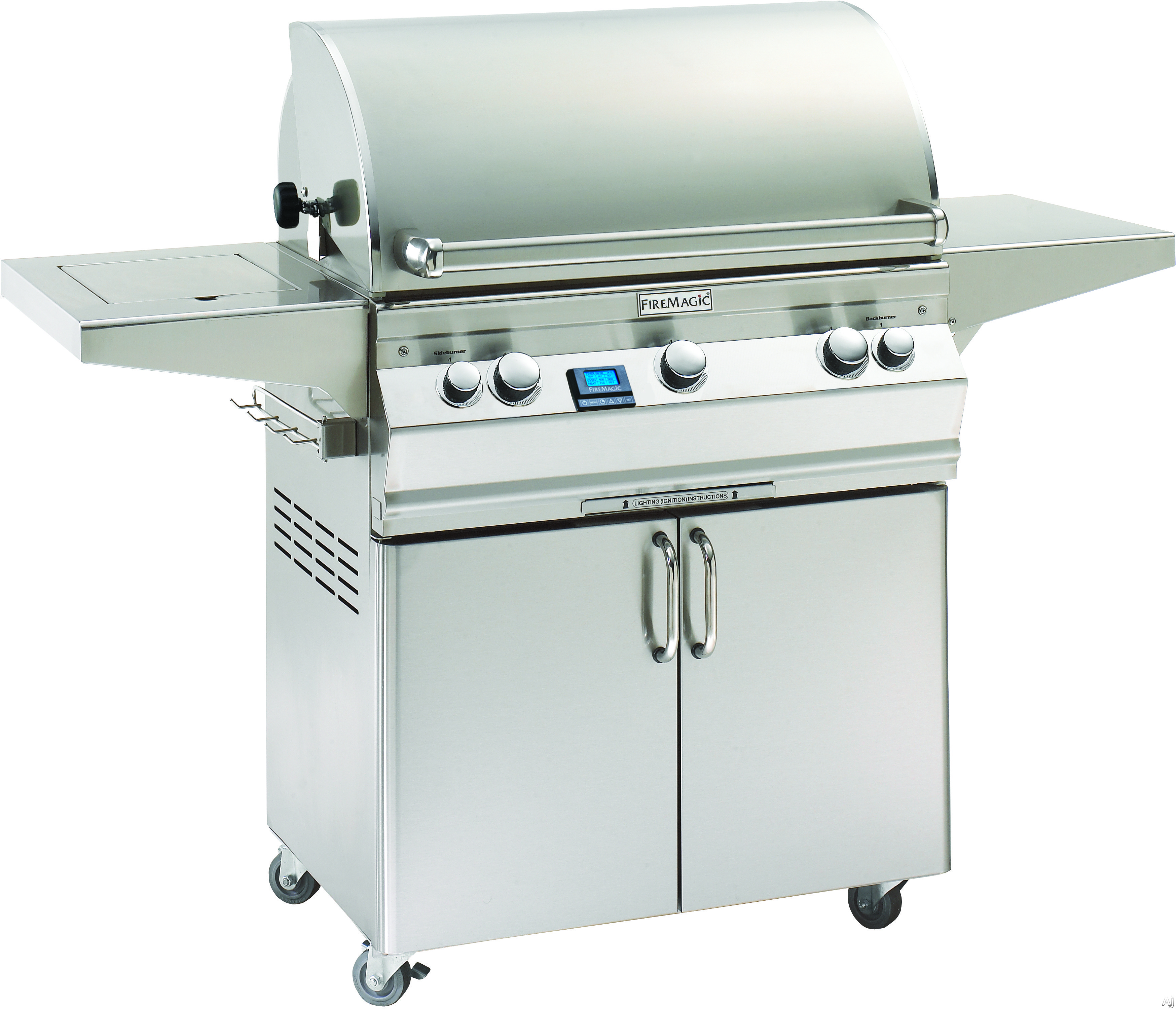 Image of Fire Magic Aurora Collection A540S6E1N62 30 Inch Freestanding Gas Grill with 540 sq. in. Cooking Surface, 60,000 BTU, 17,000 BTU Backburner, 15,000 BTU Side Burner and Interior Halogen Lights: Natural Gas, With Rotisserie