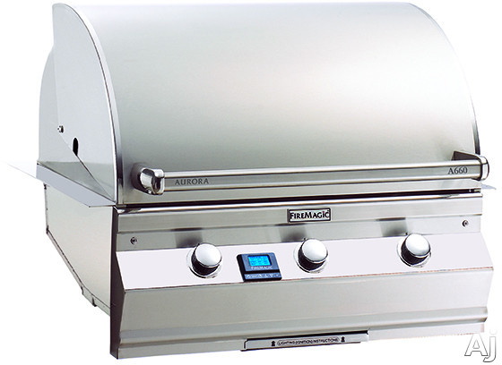 Fire Magic Aurora Collection A660I5E1N 30 Inch Built-in Gas Grill with 660 sq. in. Cooking Surface, 75,000 BTU, 17,000 BTU Backburner, Interior Halogen Lights and Hot Surface Ignition: Natural Gas, Ma