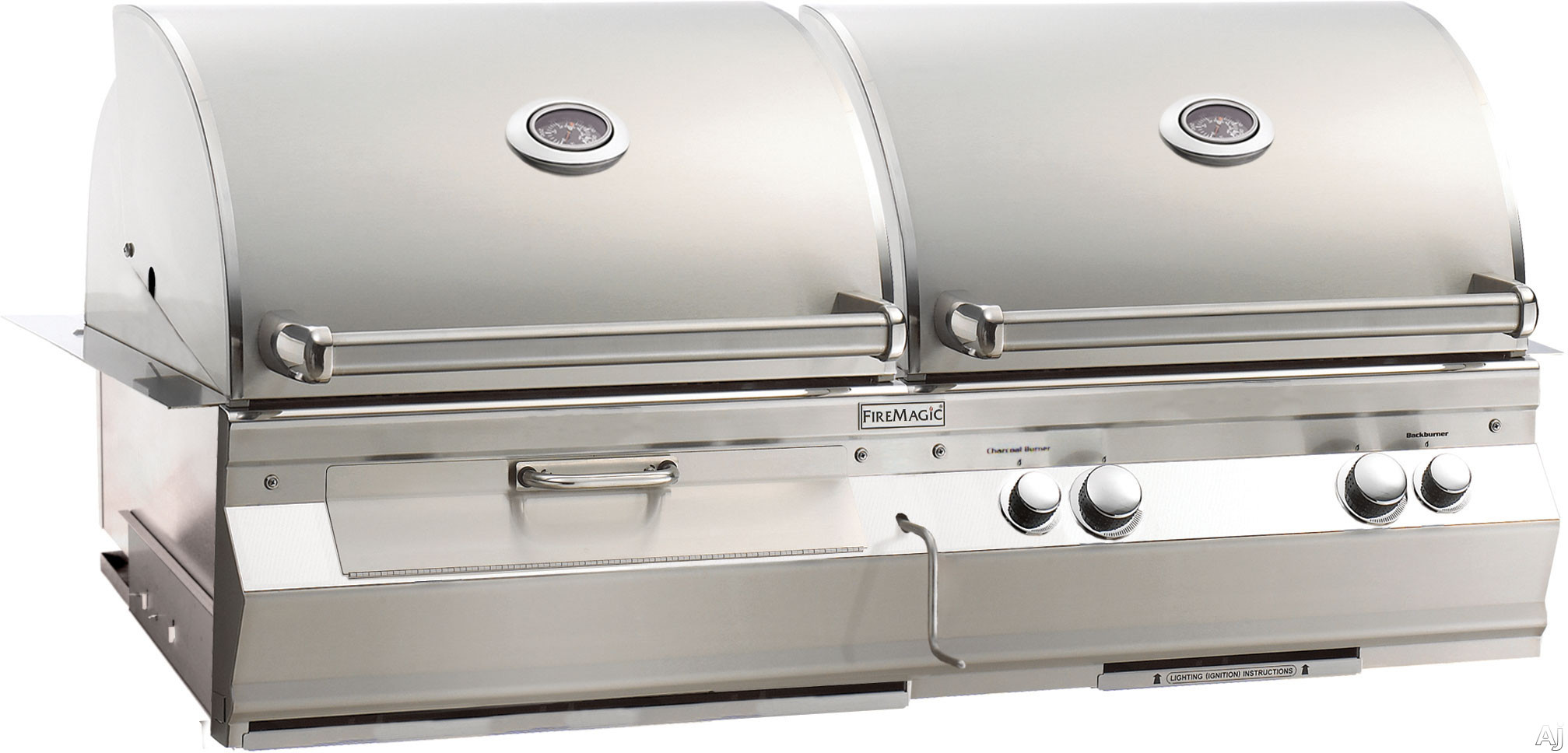 Fire Magic Aurora Collection A830I5E1PCB 46 Inch Built-in Gas and Charcoal Grills with 828 sq. in. Combined Cooking Area, 50,000 BTU Gas Grill, 26,000 BTU Charcoal Grill, 13,000 Backburner and Interio