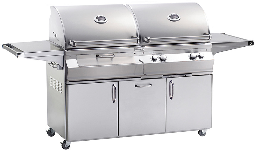 Fire Magic Aurora Collection A830S6E1N61CB 80 Inch Freestanding Gas and Charcoal Grills with 828 sq. in. Combined Cooking Area, 50,000 BTU Gas Grill, 26,000 BTU Charcoal Grill, 13,000 Backburner and I