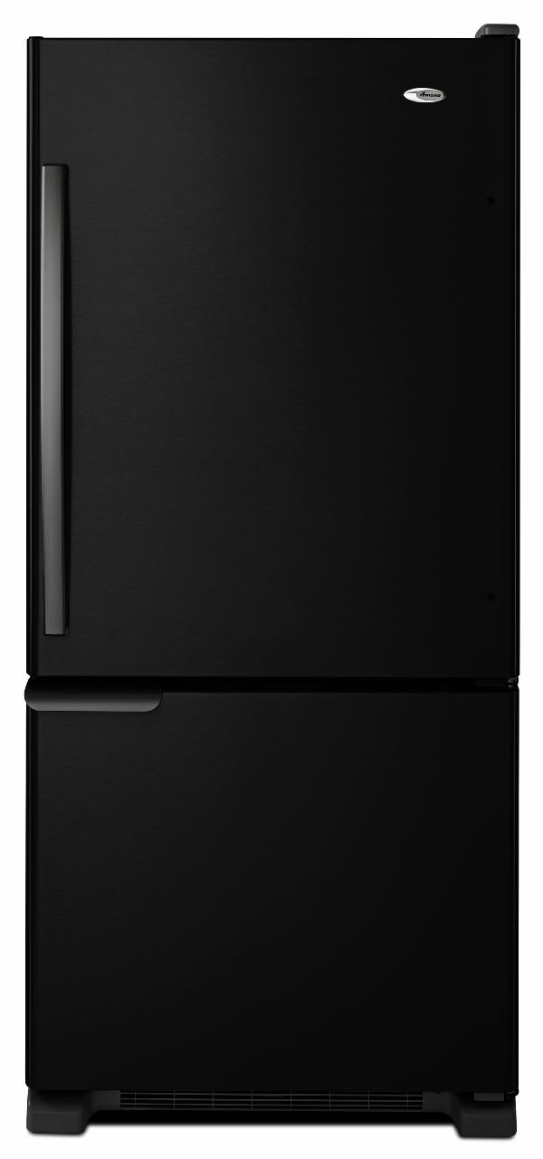Amana ABB1921BRB 187 cu ft Bottom Freezer Refrigerator with 3 Glass Shelves 2 Produce Drawers 4 Door Bins Diary Compartment Wire Freezer Shelf and Wire Freezer Basket Black