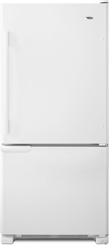 Amana ABB1921BRW 187 cu ft Bottom Freezer Refrigerator with 3 Glass Shelves 2 Produce Drawers 4 Door Bins Diary Compartment Wire Freezer Shelf and Wire Freezer Basket White