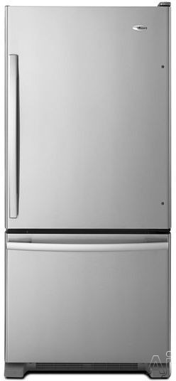 Amana ABB1924BR 185 cu ft Bottom Freezer Refrigerator with Spillsaver Glass Shelves Two Crisper Drawers Temp Assure Freshness Controls Gallon Door Storage and Pull Out Freezer Drawer
