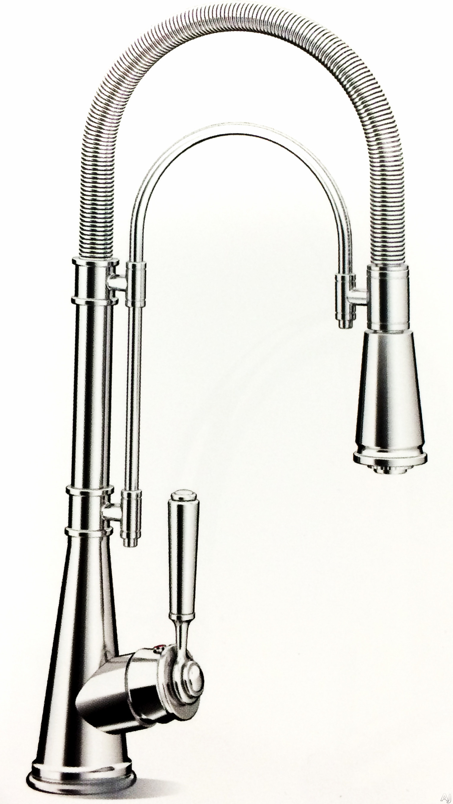 SCHOCK Acheron Series 526120CHR Single Lever Spiral Spring Kitchen Faucet with 150 ¦ Spout Swivel Latched or Flexible Functionality Water Saving Design Quarter Turn Ceramic Valves and Chrome Finish