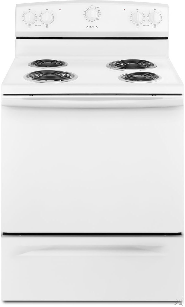 Amana ACR2303MFW 30 Inch Electric Range with 4 Coil Burners, 4.8 cu. ft. Conventional Oven, 2 Racks, 5 Rack Guides, In-Oven Broiler, Storage Drawer and Manual Clean