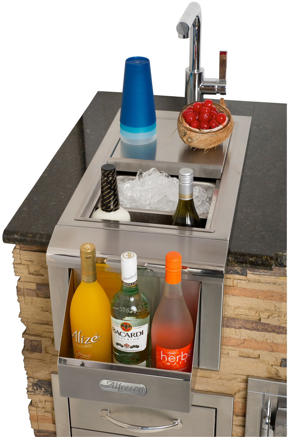 Alfresco ADT14 14 Inch Built in Beverage Center with Sink Insulated Ice Compartment Front Speedrail and Stainless Steel Construction