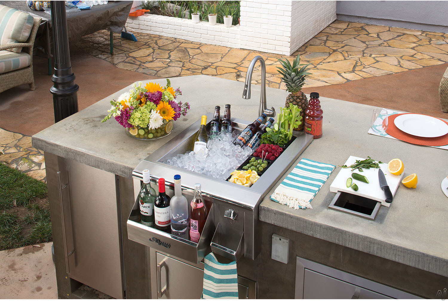 Alfresco ADT24 24 Inch Built in Beverage Center with Insulated Ice Compartment Bottle Bins Front Speedrail and Stainless Steel Construction