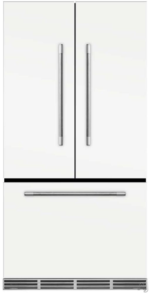 AGA Mercury MMCFDR23WHT 36 Inch Counter Depth French Door Refrigerator with Storage Drawer with 12 Temperature Settings, Ice Maker, Ice/Water Filters, Cantilever Glass Shelves, Gallon Door Storage, Wine Rack, Can Racks, Star-K Sabbath Mode and 2.6 cu ft C