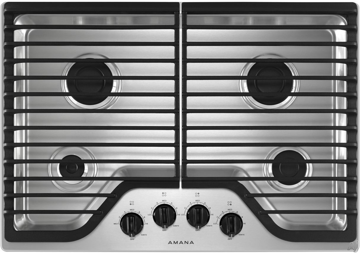 Picture of Amana AGC6540KFW 30 Inch Gas Cooktop with 4 Sealed Burners Front Controls Dishwasher-Safe Grates Dishwasher-Safe Knobs LP Conversion Kit and ADA Compliant White