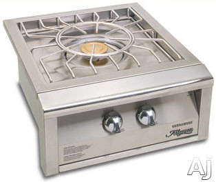 Alfresco Versa Power Series AGVPC 24 Inch Built In Single Side Burner with 65 000 BTU Combined Burners Easy Knob Controls Stainless Steel Spider Grate and Stainless Steel Cover