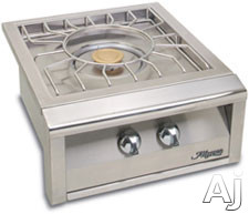 Alfresco Versa Power Series AGVPCL 24 Inch Built In Single Side Burner with 65 000 BTU Combined Burners Easy Knob Controls Stainless Steel Spider Grate and Stainless Steel Cover