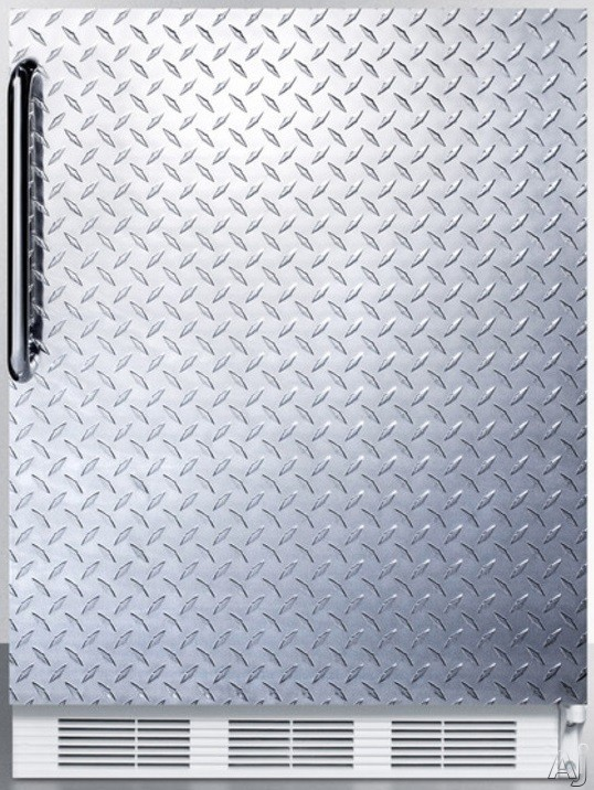 Picture of AccuCold AL650BIDPL 24 Inch Compact Refrigerator with Adjustable Glass Shelves Manual Defrost Freezer Door Storage FruitVegetable Crisper and ADA Compliant Textured Diamond Plate Door with Towel Bar Handle
