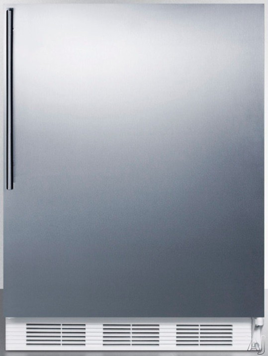 AccuCold AL650BISSHV 24 Inch Compact Refrigerator with Adjustable Glass Shelves Manual Defrost Freezer Door Storage Fruit Vegetable Crisper and ADA Compliant Stainless Door with Vertical Thin Handle