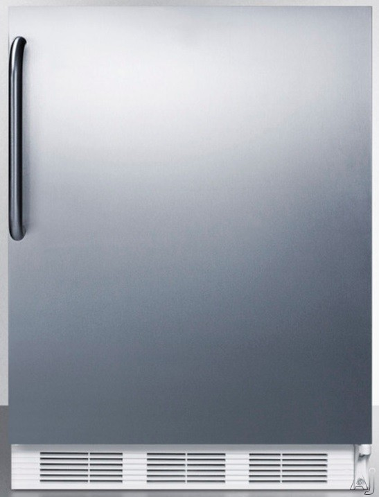 AccuCold AL650BISSTB 24 Inch Compact Refrigerator with Adjustable Glass Shelves Manual Defrost Freezer Door Storage Fruit Vegetable Crisper and ADA Compliant Stainless Door with Pro Handle