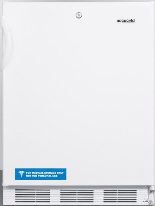 AccuCold AL650LBIX 24 Inch Compact Refrigerator with Adjustable Glass Shelves Manual Defrost Freezer Door Storage Fruit Vegetable Crisper Door Lock and ADA Compliant