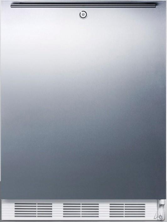 AccuCold AL650LBISSHH 24 Inch Compact Refrigerator with Adjustable Glass Shelves Manual Defrost Freezer Door Storage Fruit Vegetable Crisper Door Lock and ADA Compliant Stainless Door with Horizontal
