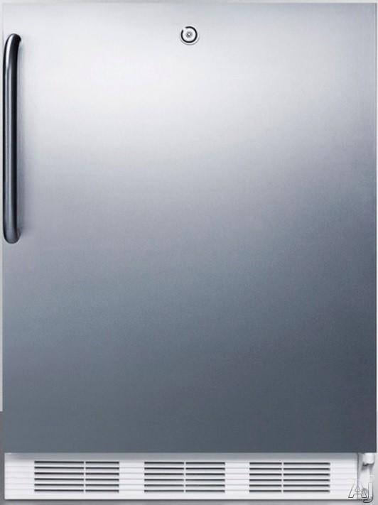 AccuCold AL650LBISSTB 24 Inch Compact Refrigerator with Adjustable Glass Shelves Manual Defrost Freezer Door Storage Fruit Vegetable Crisper Door Lock and ADA Compliant Stainless Door with Pro Handle