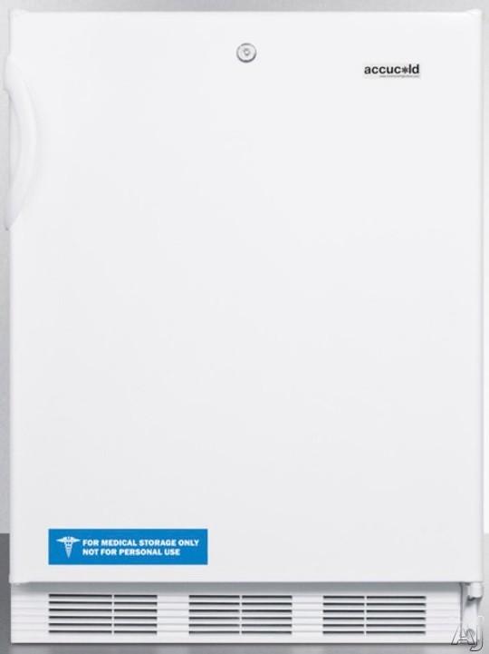 AccuCold AL650LX 5.1 cu. ft. Compact Refrigerator with Adjustable Glass Shelves Manual Defrost Freezer Door Storage Fruit Vegetable Crisper Door Lock and ADA Compliant