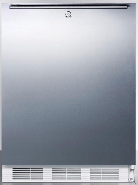 AccuCold AL650LSSHH 5.1 cu. ft. Compact Refrigerator with Adjustable Glass Shelves Manual Defrost Freezer Door Storage Fruit Vegetable Crisper Door Lock and ADA Compliant Stainless Door with Horizonta