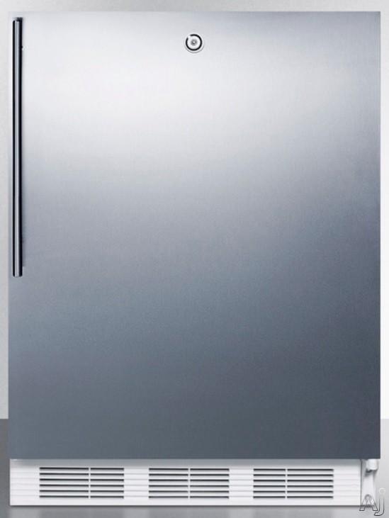 AccuCold AL650LSSHV 5.1 cu. ft. Compact Refrigerator with Adjustable Glass Shelves Manual Defrost Freezer Door Storage Fruit Vegetable Crisper Door Lock and ADA Compliant Stainless Door with Vertical