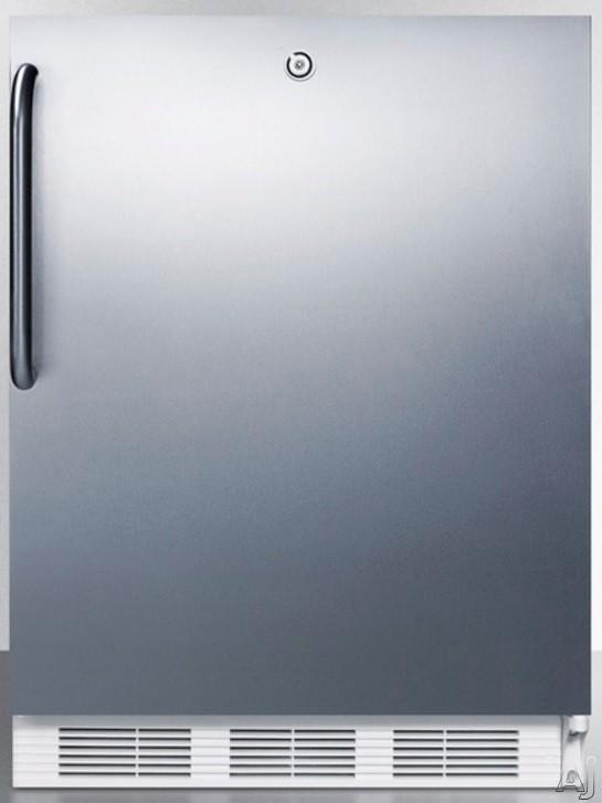 AccuCold AL650LSSTB 5.1 cu. ft. Compact Refrigerator with Adjustable Glass Shelves Manual Defrost Freezer Door Storage Fruit Vegetable Crisper Door Lock and ADA Compliant Stainless Door with Pro Handl